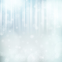 Christmas background with snowflakes and lights. Vector image