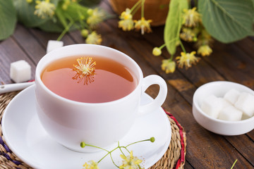 Cup of fresh tea with linden
