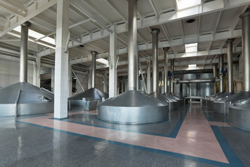 Mash vats, interior of brewery, nobody