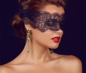 Beautiful sexy woman black lace shoulders neck jewelry earrings