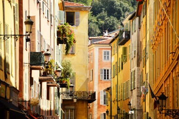 Photo sur Plexiglas Nice Old town architecture of Nice on French Riviera