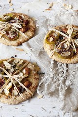 homemade rustic cookies with figs and almond slices