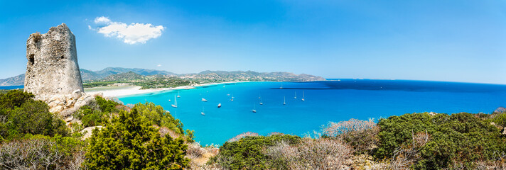 Panoramic view of Porto Giunco bay. Sardinia Island. Italy.
