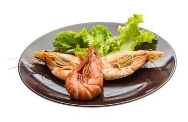 Boiled king prawns