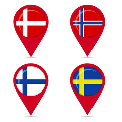 Map pin icons of national flags of Scandinavian countries