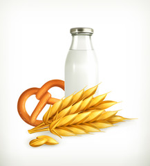 Wheat, milk and bread, isolated vector illustration