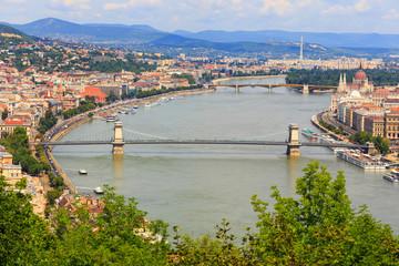 Foto op Plexiglas Historisch geb. Budapest and Danube river panoramic view, Hungary, Europe