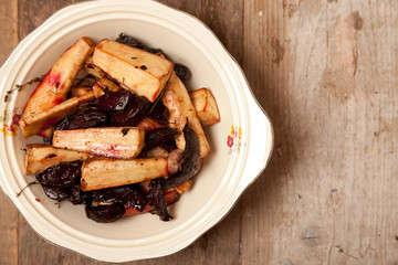 roast parsnips and beetroots