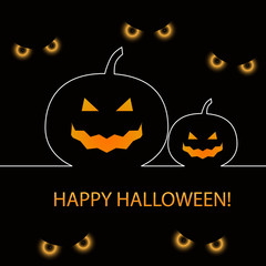Halloween pumpkins and scary eyes background, vector illustratio