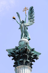Archangel Gabriel at the Heroes square in Budapest