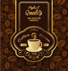 Premium coffee label over vintage background