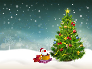 beautiful decorated Christmas tree and gifts background