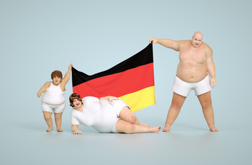 3d render German obesity concept - fat family with flag