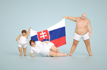 3d render Slovakia obesity concept - fat family with flag