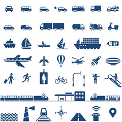 Transportation icons set - cars, ships, planes, trains