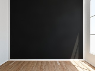 Room with black wall and window