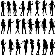 Poster Chambre d enfant Black silhouettes of beautiful mans and womans