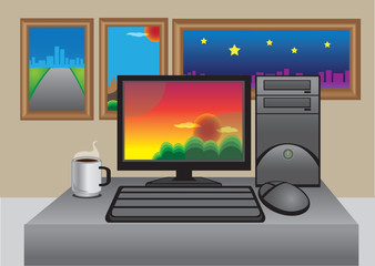 Vector office computer with photographs