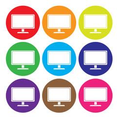 desktop computer icon set vector