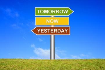 Schild Wegweiser: Tomorrow / Now / Yesterday