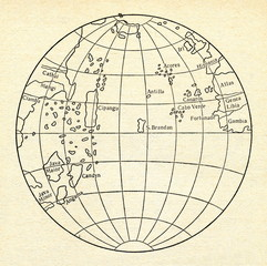 Atlantic Ocean on globe of Martin Behaim, 1492