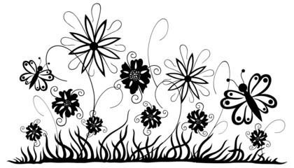Filigrane Blumenwiese mit Blumen und Schmetterlingen. Sommer.