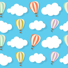 Retro Seamless Pattern with Air Balloons Vector Illustration