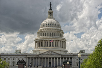 Washington DC Capitol view from the mall on cloudy sky