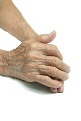 Senior woman's holding hand isolated on white