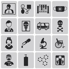 Medical black Icons set3. Vector Illustration eps10