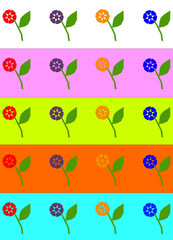 Decorative colorful flowers on a different backgrounds