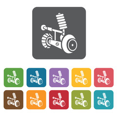 Car shock icons set. Rectangle colourful 12 buttons. Vector illu