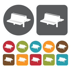 Picnic bench icons set. Round and rectangle colourful 12 buttons