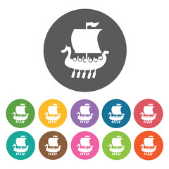 Viking ship icons set. Round colourful 12 buttons. Vector illust