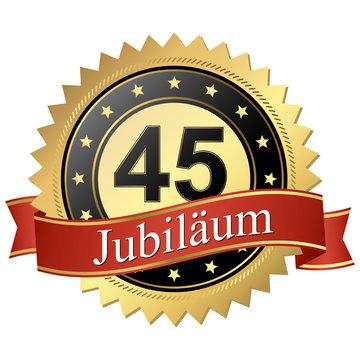Jubilee button with banners german - Jubiläum 45 Jahre