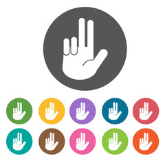 Jesus hand icons set. Round colourful 12 buttons. Vector illustr