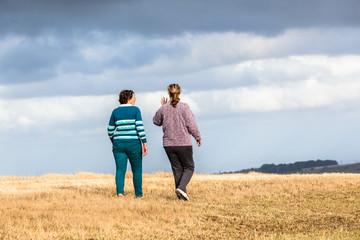 Women Mother Daughter Walking Exploring Landscape