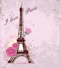 Roses and  Eiffel tower