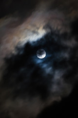 Moon behind the cloud