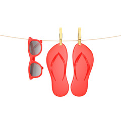 red glasses and flip flops hanging on rope with clothespins