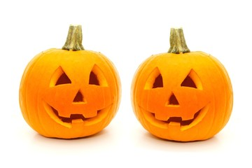 Two cute Halloween Jack o Lanterns isolated on white