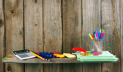 School accessories. On wooden background.