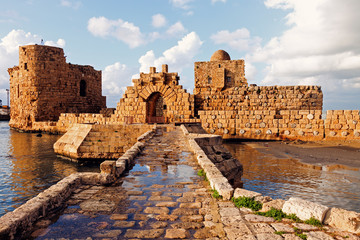 Aluminium Prints Ruins Sidon Sea Castle