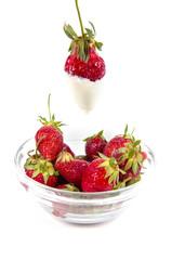ripe strawberry in ice-cream
