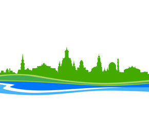 Deurstickers Skyline Dresden Wasser