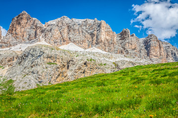 Panorama of Sella mountain range from Sella pass, Dolomites, Ita
