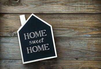 House Shaped Chalkboard sign Home sweet Home on rustic wood
