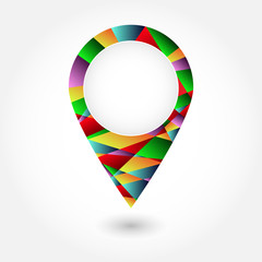 Colorful pins mosaic triangle Vector