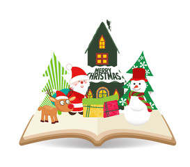 merry christmas santa claus and snowman on book