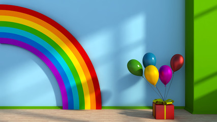 Playroom with rainbow